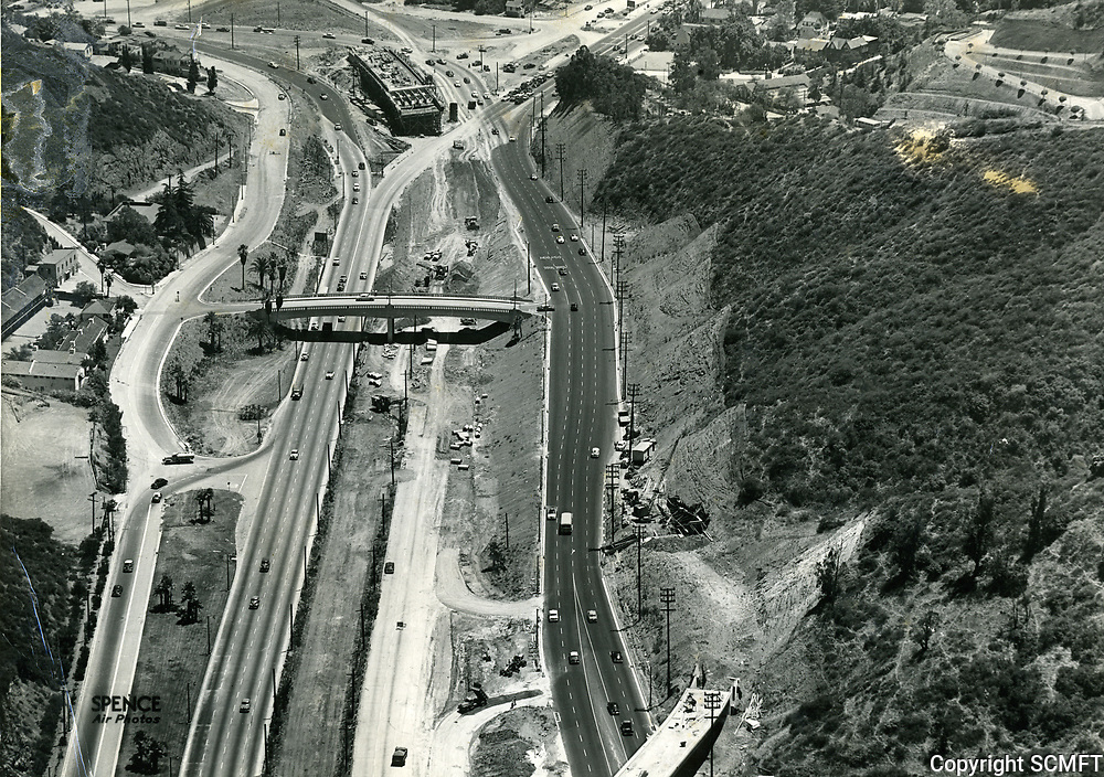 1953 The new 101 Hollywood Freeway in the Cahuenga Pass