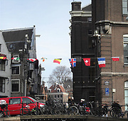 Typical canal street scene in Amsterdam, Holland