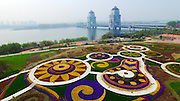 YANGZHOU, CHINA - APRIL 10: (CHINA OUT) <br /> <br /> Aerial view of the flower fields in Marco Polo Flower World on April 10, 2016 in Yangzhou, Jiangsu Province of China. The Marco Polo Flower World included seven themed sessions with various kinds of flowers. ©Exclusivepix Media