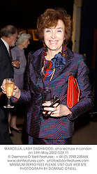 MARCELLA, LADY DASHWOOD, at a lectrure in London on 13th May 2002.OZX 11