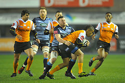Cheetahs' Clayton Blommetjies talked by Cardiff Blues' Owen Lane<br /> <br /> Photographer Mike Jones/Replay Images<br /> <br /> Guinness PRO14 Round 14 - Cardiff Blues v Cheetahs - Saturday 10th February 2018 - Cardiff Arms Park - Cardiff<br /> <br /> World Copyright © Replay Images . All rights reserved. info@replayimages.co.uk - http://replayimages.co.uk