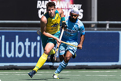 (L-R) Eddie Ockenden of Australia, Simjanreet Singh of India during the Champions Trophy finale between the Australia and India on the fields of BH&BC Breda on Juli 1, 2018 in Breda, the Netherlands.