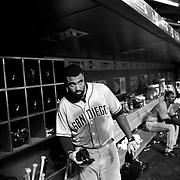 Matt Kemp, San Diego Padres, in the dugout preparing to bat during the New York Mets Vs San Diego Padres MLB regular season baseball game at Citi Field, Queens, New York. USA. 29th July 2015. Photo Tim Clayton