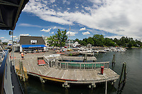 The Winnipesaukee Belle pulls up to the town docks in Wolfeboro, NH.  ©2106 Karen Bobotas Photographer