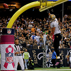 October 23, 2011; New Orleans, LA, USA; New Orleans Saints tight end Jimmy Graham (80) celebrates after scoring a touchdown against the Indianapolis Colts during the third  quarter of a game at the Mercedes-Benz Superdome. The Saints defeated the Colts 62-7. Mandatory Credit: Derick E. Hingle-US PRESSWIRE / © Derick E. Hingle 2011