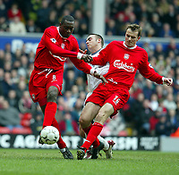 Liverpool's Emile Heskey (l) and Ditemar Hamann get in each others way to shoot at Middlesbrough during the Premiership  match at Anfield, Liverpool, Saturday, February 8th, 2003.<br /><br />Pic by David Rawcliffe/Propaganda<br /><br />Any problems call David Rawcliffe on +44(0)7973 14 2020 or email david@propaganda-photo.com - http://www.propaganda-photo.com
