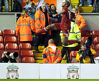 Fotball<br /> England<br /> Foto: Propaganda/Digitalsport<br /> NORWAY ONLY<br /> <br /> LIVERPOOL, ENGLAND - Thursday, August 19, 2010: Liverpool Ryan Babel celebrates scoring the opening goal against Trabzonspor during the UEFA Europa League Play-Off 1st Leg match at Anfield