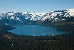 """""""Fallen Leaf Lake Aerial 1"""" - Photograph of Fallen Leaf Lake shot from an amphibious seaplane with the door removed."""