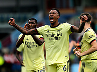 Football - 2021 / 2022 Premier League - Burnley vs. Arsenal<br /> <br /> Gabriel of Arsenal celebrates his team's win after the final whistle after the game, at Turf Moor.<br /> <br /> <br /> COLORSPORT/ALAN MARTIN