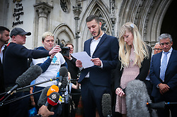 Connie Yates and Chris Gard decided to withdraw the legal battle for their son Charlie treatment.  Charlie's supporters arrived at the court with hope that the judge would award in the parent favour. They were shocked and upset after hearing the sad news that all was in vain.  Chris Gard spoke to the world media while Connie Yates listened and looked at her husband at times - London  <br /><br />24 July 2017.<br /><br />Please byline: Vantagenews.com