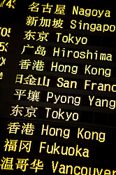 International Arrivals flight information board at new Terminal 3 at Beijing International Airport 2009