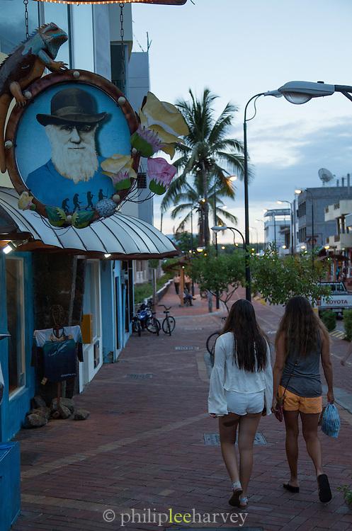 Puerto Ayora high street, Santa Cruz Island, Galapagos Islands, Ecuador, South America