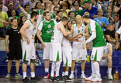 Gregor Hrovat #15 of KK Union Olimpija, Brandon Jefferson #13 of KK Union Olimpija, Mirko Mulalic #8 of KK Union Olimpija and Stevan Milosevic #11 of KK Union Olimpija during basketball match between KK Union Olimpija and KK Rogaska in 4th Final game of Liga Nova KBM za prvaka 2016/17, on May 24, 2017 in Hala Tivoli, Ljubljana, Slovenia. Photo by Vid Ponikvar / Sportida