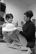 06/02/1968.02/06/1968.06 February 1968.Miss Neilli Mulcahy (right) with her assistant Miss Mary Bell preparing for the W.I.Z.O. Fashion Show where the Nelli Mulcahy Spring '68 Courture Collection, will feature  at the W.I.Z.O. 'Preview to Spring' fashion show at the Gresham Hotel, Dublin on Monday next, 12th Feb. 1968. Also showing will be a David Vard collection of furs.