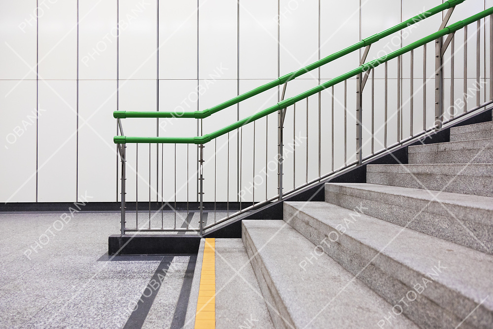 Closeup of staircase in Wien subway