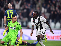 TURIN, March 9, 2019  FC Juventus's Moise Kean (1st R) scores his goal during a Serie A soccer match between Juventus and Udinese in Turin, Italy, March 8, 2019. Juventus won 4-1. (Credit Image: © Alberto Lingria/Xinhua via ZUMA Wire)