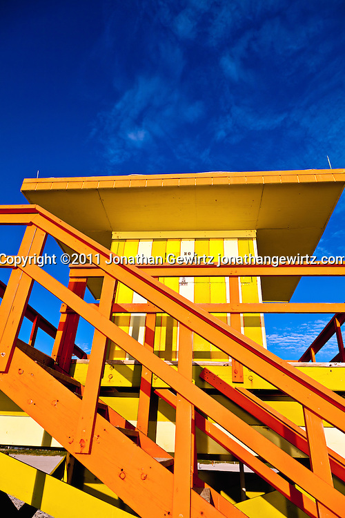 A colorful lifeguard hut on South Miami Beach. WATERMARKS WILL NOT APPEAR ON PRINTS OR LICENSED IMAGES.