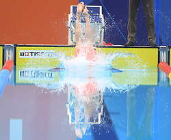 JAKARTA, Aug. 24, 2018  Sun Yang of China enters water during men's 1500m freestyle final of swimming at the 18th Asian Games in Jakarta, Indonesia, Aug. 24, 2018. Sun won the gold medal. (Credit Image: © Pan Yulong/Xinhua via ZUMA Wire)