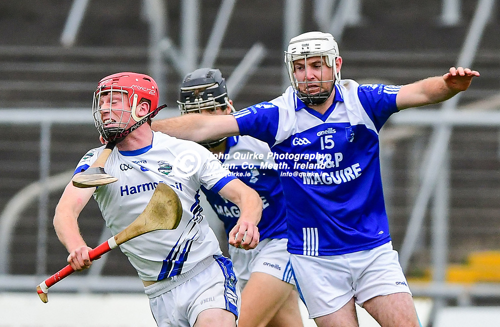 Kildalky's kevin McKeon is in control despite being challenged by Kevin Keena of Kilmessan,  during the Kildalkey v Kilmessan,  Senior Hurling Championship quarter final match at Pairc Tailteann, Navan.<br /> Photo: GERRY SHANAHAN-WWW.QUIRKE.IE<br /> <br /> 12-09-2020