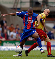 Photo: Daniel Hambury.<br />Crystal Palace v Watford. Coca Cola Championship. Play off Semi-Final, First Leg. 06/05/2006.<br />Palace's Clinton Morrison and Watford's Gavin Mahon battle.