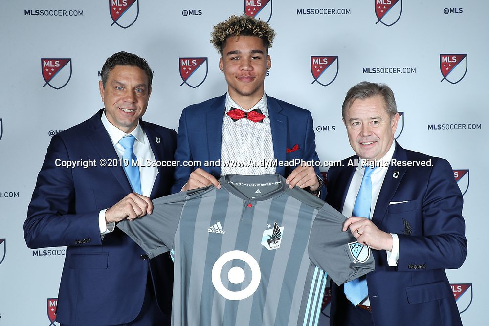 CHICAGO, IL - JANUARY 11: Dayne St Clair was taken with the seventh overall pick by Minnesota United FC. With sporting director Manny Lagos (left) and head coach Adrian Heath (right). The MLS SuperDraft 2019 presented by adidas was held on January 11, 2019 at McCormick Place in Chicago, IL.