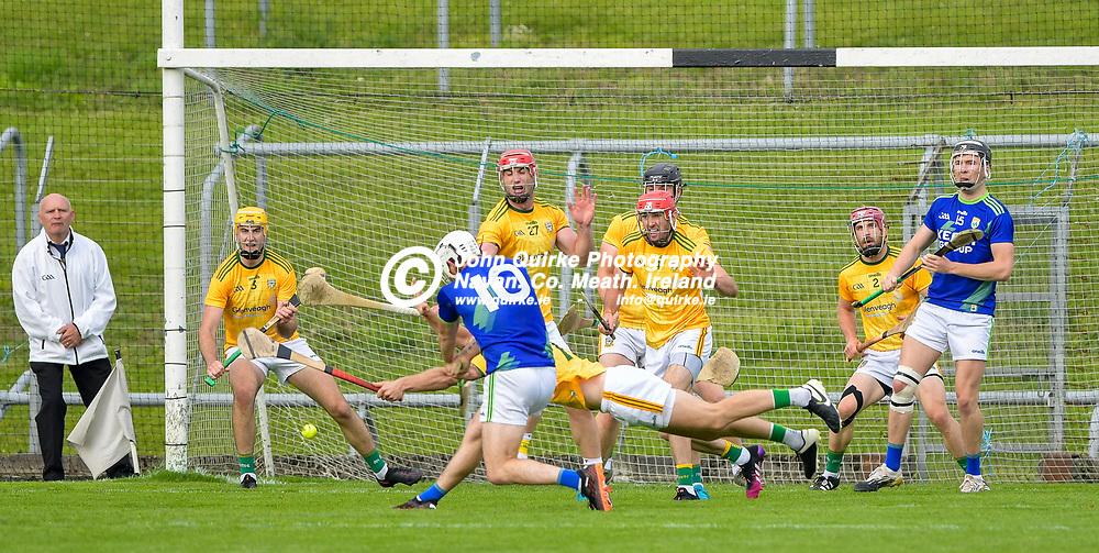 Keith Keoghan, blocks a shot,  during the Meath v Kerry,  Joe McDonagh Cup match at Pairc Tailteann, Navan.<br /> <br /> Photo: GERRY SHANAHAN-WWW.QUIRKE.IE<br /> <br /> 10-07-2021