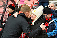 AFC Bournemouth manager Eddie Howe gets a hug from a fan before the The FA Cup 3rd round match between Bournemouth and Brighton and Hove Albion at the Vitality Stadium, Bournemouth, England on 5 January 2019.