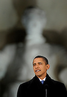 President Elect Barack Obama addresses the thousands gathered during the Inauguration Celebration on the steps of the Lincoln Memorial, Sunday Jan. 18, 2009.