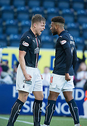 Falkirk's Peter Grant celebrates after scoring their goal, with Myles Hippolyte. Falkirk 1 v 1 Ayr United, Scottish Championship game played 14/1/2017at The Falkirk Stadium .