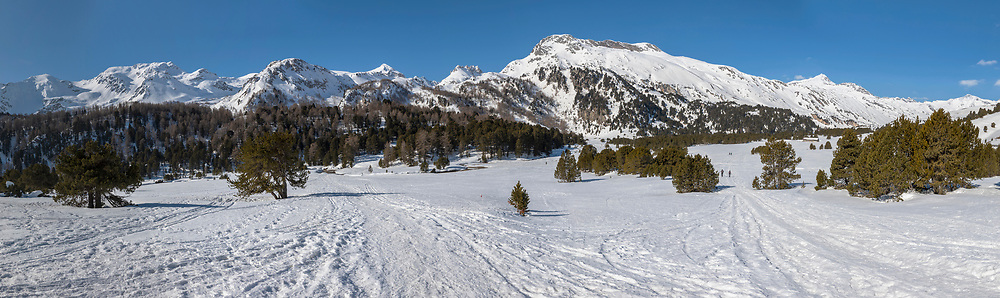 Landscape with lots of snow on Lukmanier in Ticino, on the Swiss alps. No people inside