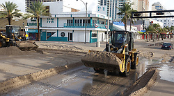 City crews clear sand from the corner of Las Olas Boulevard and A1A in Fort Laudedale, FL, USA on Monday, September 11, 2017, in Fort Lauderdale after the passing of Hurricane Irma. Photo by Joe Cavaretta/Sun Sentinel/TNS/ABACAPRESS.COM