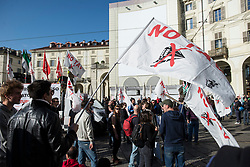May 1, 2019 - Turin, Piedmont, Italy - Turin, Italy-May 1, 2019: Workers demonstration in the May Day procession and Clashes against the police and autonomous on May Day in Turin, Italy (Credit Image: © Stefano Guidi/ZUMA Wire)