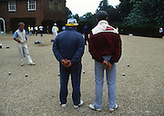 Osterley, Greater london.  Competitors at the  Le Piat d'Or,  Petanque/Boules Championships held in the grounds of Osterley House West London, England, [Mandatory Credit; Peter Spurrier/Intersport Images] 19870912 Petanque Championships, Osterley, Greater London, UK