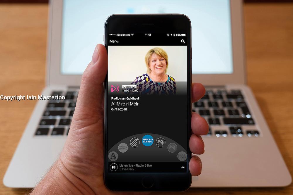 Using iPhone smartphone to display show on BBC Radio Gaelic  language Network radio station in Scotland