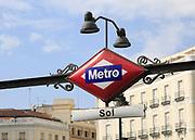 Close up, Sol metro station sign, Plaza de la Puerta del Sol, Madrid city centre, Spain