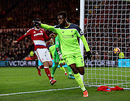Divock Origi of Liverpool celebrates scoring the second goal during the English Premier League match at the Riverside Stadium, Middlesbrough. Picture date: December 14th, 2016. Pic Simon Bellis/Sportimage