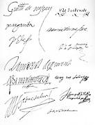 Original signatures (left) Prince William of Orange (1581); Margaret of Parma (2 April 1572), Philip II (1563); Lamoraal Count of Egmont, Philip de Montmorency, Count of Hoorn (14 Aug 1562, Ferdinand Alvarez de Toledo, Duke of Alva (August 14, 1572,) right: Henri Count of Brederode (1567), Prince Maurits (December 2, 1595), Philips van Marnix, Lord of St Aldegonde, George of Lalang, Count of Rennenberg (January 23, 1579) John of Nassau Katzenelnbogen (23 January 1579) Johan van Oldenbarnevelt (18 May 1590).
