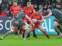 Rugby Union - 2019 / 2020 European Rugby Heineken Champions Cup - Pool Four: Ospreys vs. Saracens<br /> <br />  Manu Vunipola of Saracens cuts inside, at the Liberty Stadium.<br /> <br /> COLORSPORT/WINSTON BYNORTH