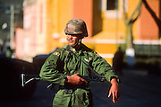 SAN CRISTOBAL DE LAS CASAS, CHIAPAS, MEXICO: A Mexican Army soldier looks for Zapatista guerillas during the Zapatista uprising in San Cristobal de las Casas, Chiapas, Mexico, Jan. 6, 1994. The Zapatistas captured and held San Cristobal for about a day at the beginning of the uprising.   ©  JACK KURTZ   MILITARY  ZAPATISTAS   POVERTY  INDIGENOUS    CULTURE    LAND ISSUES