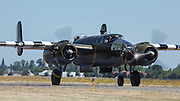 """North American B-25 Mitchell, """"Grumpy"""" taxiing at Warbirds Over the West."""