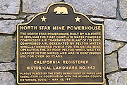 The North Star Mine Powerhouse Historic Landmark Plaque, Grass Valley, Gold Country (Highway 49), California