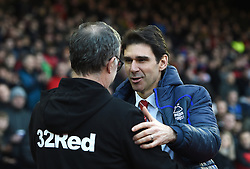Nottingham Forest manager Aitor Karanka (right) greets Leeds United manager Marcelo Bielsa at the start of the the Sky Bet Championship match at the City Ground, Nottingham.