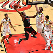 Biola guard Alex Wright (10) flies through the air during the PacWest basketball championships in the Felix Event Center at Azusa Pacific University Thursday, Mar. 05, 2020, in Azusa. (Mandatory Credit: Katie Chin Sports Shooter Academy)