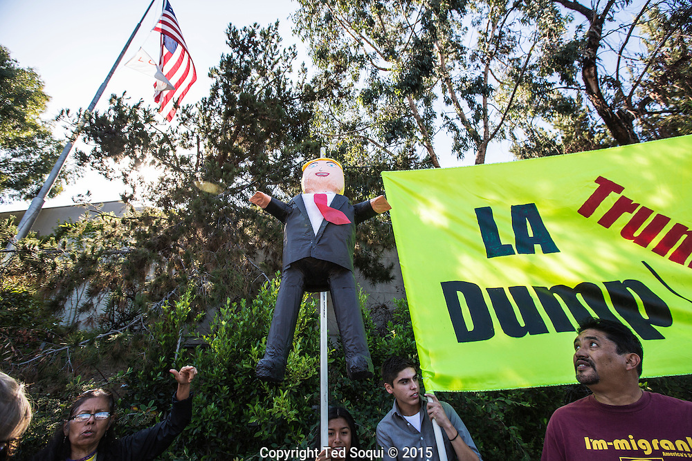 Hundreds of anti and pro Donald Trump demonstraters out front of the Luxe Hotel in Los Angeles. Presidential candidate Donald Trump spoke to a group of LA area republicans inside the hotel.