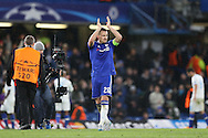 John Terry, the Chelsea captain applauds the Chelsea fans after the final whistle. UEFA Champions league group G match, Chelsea v Porto at Stamford Bridge in London on Wednesday 9th December 2015.<br /> pic by John Patrick Fletcher, Andrew Orchard sports photography.