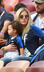 Varane 's Girllfriend Camille Tytgat and son Ruben during the 2018 FIFA World Cup final football match between France and Croatia in Moscow, Russia on july 15, 2018. Photo by Christian Liewig/ABACAPRESS.COM