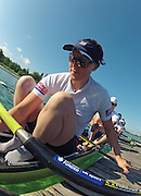 Munich, GERMANY,   GBR W8+. Natasha PAGE.  2012 FISA World Cup on the Munich Olympic Rowing Course,  Thursday  14/06/2012. [Mandatory Credit Peter Spurrier/ Intersport Images]
