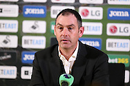Paul Clement, the Swansea city manager talks to the media during his post match press conference.Premier league match, Swansea city v Southampton at the Liberty Stadium in Swansea, South Wales on Tuesday 31st January 2017.<br /> pic by  Andrew Orchard, Andrew Orchard sports photography.