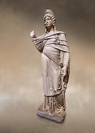 Roman statue of Julia Domina . Marble. Perge. 2nd century AD. Inv no 3268. Antalya Archaeology Museum; Turkey. Against a warm art background.<br /> <br /> Julia Domna (AD 160–217) was a Roman empress , the second wife of Septimius Severus (reigned 193–211). .<br /> <br /> If you prefer to buy from our ALAMY STOCK LIBRARY page at https://www.alamy.com/portfolio/paul-williams-funkystock/greco-roman-sculptures.html . Type -    Antalya     - into LOWER SEARCH WITHIN GALLERY box - Refine search by adding a subject, place, background colour, museum etc.<br /> <br /> Visit our ROMAN WORLD PHOTO COLLECTIONS for more photos to download or buy as wall art prints https://funkystock.photoshelter.com/gallery-collection/The-Romans-Art-Artefacts-Antiquities-Historic-Sites-Pictures-Images/C0000r2uLJJo9_s0