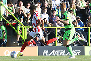 Jacob Maddox and Matt Worthington during the EFL Sky Bet League 2 match between Forest Green Rovers and Cheltenham Town at the New Lawn, Forest Green, United Kingdom on 20 October 2018.